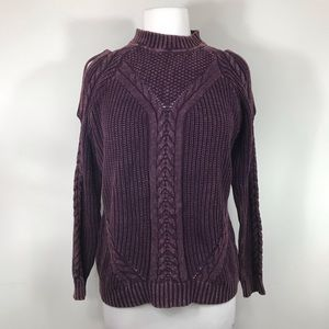 UMGEE   Cold Shoulder Berry Thick Knit Sweater